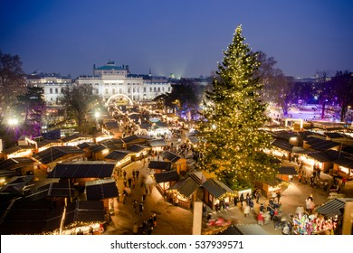 Traditional Christmas Market in Vienna, Austria, 2016. Aerial view above the market after sunset (blue hour). HDR image.