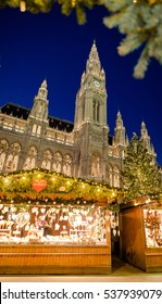 Traditional Christmas market in VIenna, in fornt of the City Hall (Rathaus), Austria, Wien