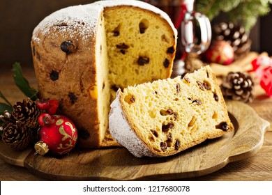 Traditional Christmas panettone with dried fruits and orange zest