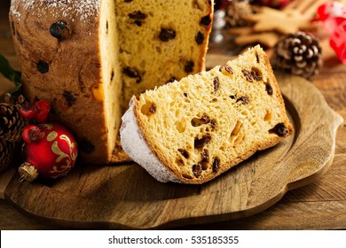 Traditional Christmas panettone with dried fruits and spices