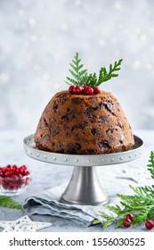 Traditional Christmas pudding, selective focus