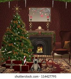 Traditional christmas room