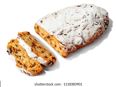 Traditional Christmas Stollen on white background