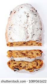 Traditional Christmas Stollen over white background