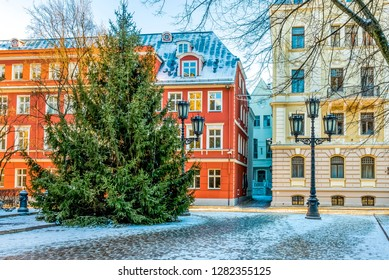 Traditional Christmas Tree in winter in old Riga - the capital and largest city of Latvia, a major commercial, cultural, historical and tourist center of the Baltic region