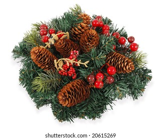 Traditional christmas wreath isolated on white background.