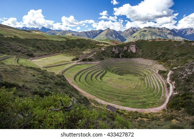 Traditional circular agriculture fields used by incas in Moray. Sacred Valley, Peru