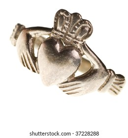 traditional Claddagh ring isolated on a pure white background