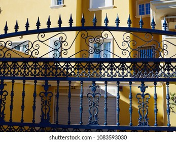 Traditional classic design ornate wrought iron elements metal gate Spain
