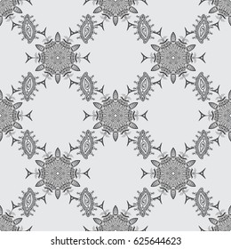 Traditional classic dim seamless pattern on gray background. Seamless oriental ornament in the style of baroque.