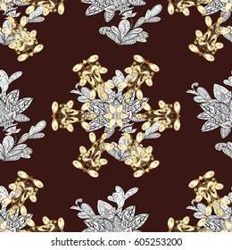 Traditional classic golden seamless pattern. Brown background with golden elements. Seamless oriental ornament in the style of baroque.