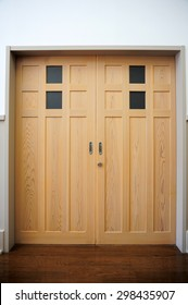 Traditional classic Japanese style sliding wooden door
