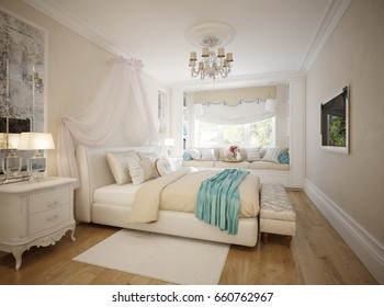 Traditional Classic Modern Provence Bedroom Interior Design with white furniture, Aged mirrors and broad window sill for read with soft seats and cushions. 3d rendering