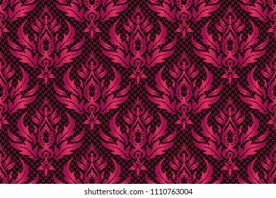 Traditional classic raster pattern. Seamless oriental ornament in the style of baroque on a black background in purple and pink colors.