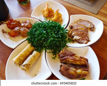 Traditional classical Chinese style meal appetizers served in a restaurant