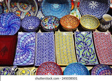Traditional clay goods in shop in the medina of Tunis,Tunisia