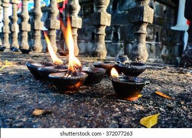 Traditional Clay Lamps Lit At The Buddhist Temple In Sri Lanka. Clay Lamps Lit At Local Festivals As Light Is Traditionally Associated With The Spirit, They Are An Essential Part Of Sacred Ritual.