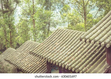 Traditional clay roof of ancient chinese building,closeup.