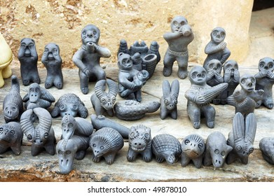 Traditional clay statues of the Somba in Benin