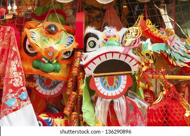 Traditional clothing and decoration stuffs are selling for Chinese New Year