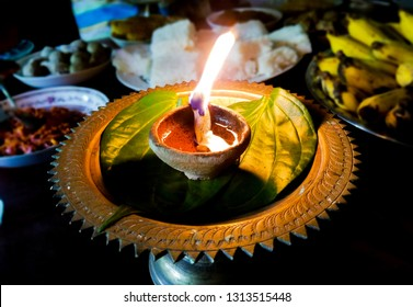 Traditional coconut oil lamp in sinhala and tamil new year celebration sri lanka