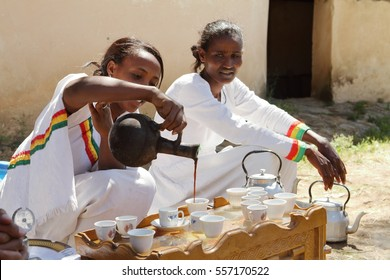 The traditional coffee ceremony in Ethiopia