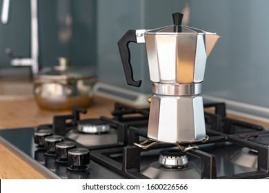 Traditional coffee maker. Geyser Coffee Maker.