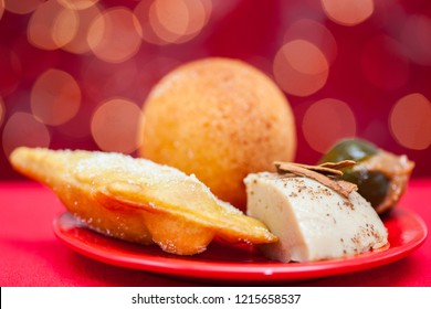 Traditional Colombian christmas dish on red background