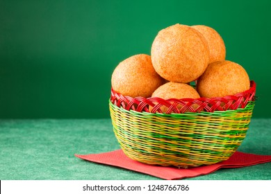 Traditional Colombian buñuelo - Deep Fried Cheese Bread. Christmas decoration