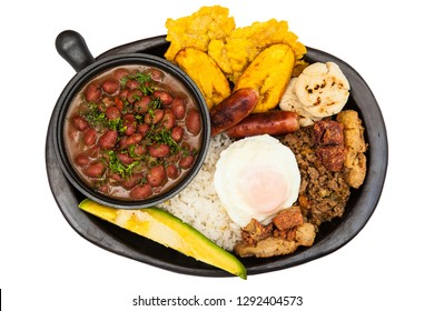 Traditional Colombian dish called Banda paisa: a plate typical of Medellin that includes meat, beans, egg and plantain