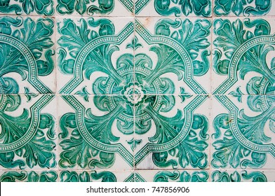 Traditional colorful azulejos in Lisbon, Portugal - Green tiles