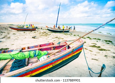 Traditional colorful Brazilian fishing boat on the beach in Jericoacoara Brazil