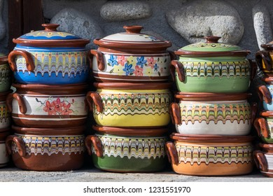 Traditional colorful Bulgarian clay pots