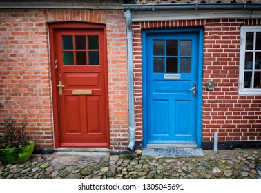 Traditional colorful door in Ribe, Denmark