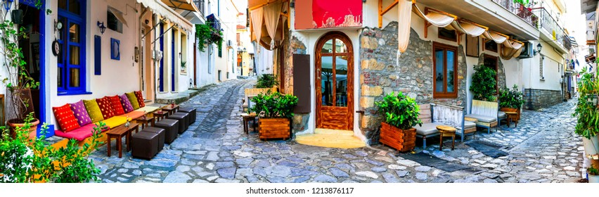 Traditional colorful Greece - charming old streets of Skiathos