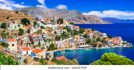 Traditional colorful Greece series - beautiful Symi island (near Rhodes), Dodecanese