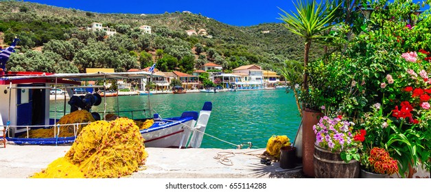 Traditional colorful Greece series -  fishing village Sivota in Lefkada, Ionian islands