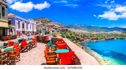 Traditional colorful Greece series - street bars and taverns of  Molyvos (Mythimna) . Lesvos (Lesbos) ilsnad