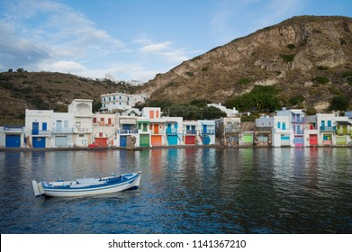 Traditional Colorful Greek Fishing Village Houses in Klima, Milos, Cyclades, Greece
