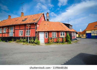 Traditional colorful half-timbered houses in Allinge, Bornholm, Denmark