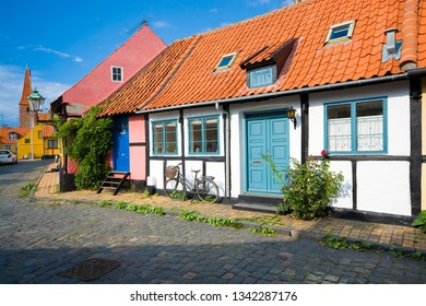 Traditional colorful half-timbered houses in Ronne, Bornholm, Denmark