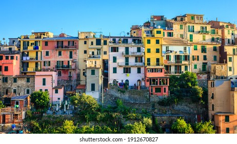 Traditional colorful houses in the village of Corniglia in Cinque Terre,  Italy