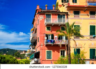 Traditional colorful italian houses with balconies at Lerici town, Liguria. Italy. Near Cinque Terre, Spezia area