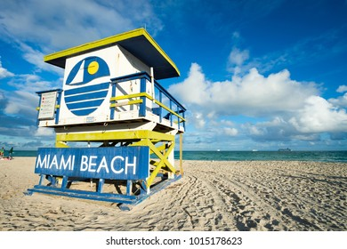 Traditional colorful lifeguard tower in Miami, Florida