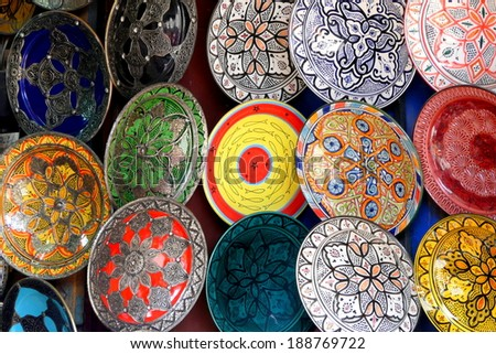 Traditional Colorful Moroccan Faience Pottery Dishes In A Typical Ancient  Shop In The Medinau0027s Souk Of