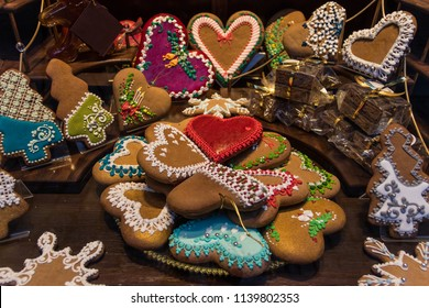 Traditional colorful ornamented handmade gingerbread cookies from Torun, Polish capital city of this original sweets