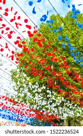 Traditional colorful street decoration in Loreto, Madeira, Portugal. Celebration of the religious festival. Red, white, blue and orange paper flowers hanging in the air. Green tree in the background.