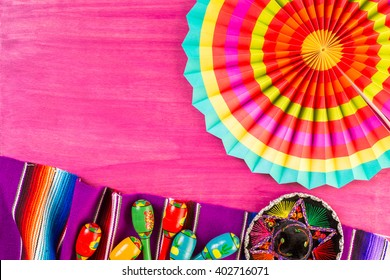 Traditional Colorful Table Decorations For Celebrating Fiesta