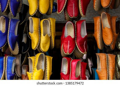 07785ad2e2d0 Traditional colorful Turkish handmade leather slipper shoes on a market in  Gaziantep