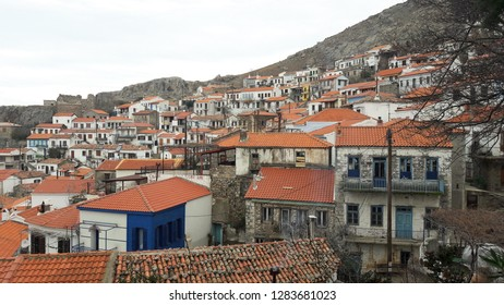 Traditional colorful view of Chora village architecture in the island of Samothrace Greece